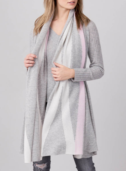 Cashmere Scarf in Silver/Bi-color Strip