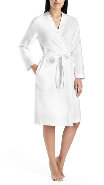 Cotton Pique Robe in White