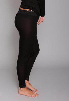 Silk Long John Leggings in Black