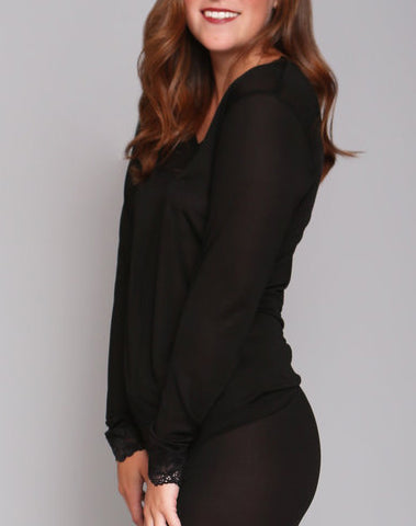 Silk Long John Top in Black