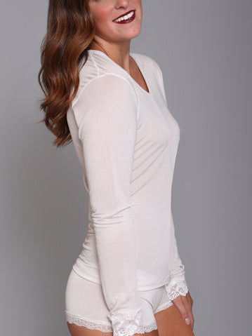 Silk Long John Top in Porcelain