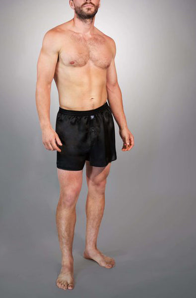 HARTMAN Men's Silk Boxers in Black