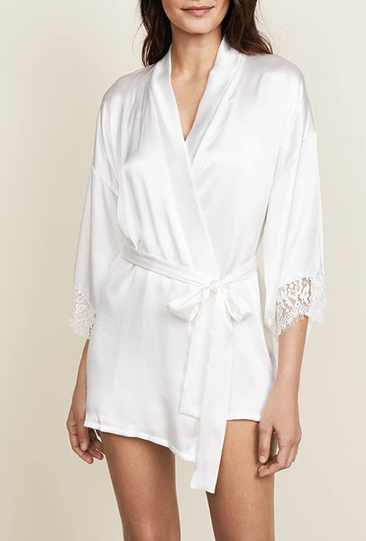 LADY CATHERINE Silk Robe in Light Ivory