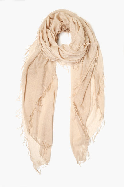 Cashmere & Silk Lurex Scarf in Doeskin