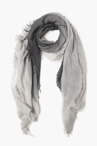 Cashmere & Silk Dip Dye Scarf in Ebony/Harbor Mist