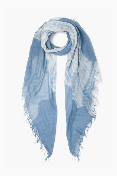 Cashmere & Silk Tie Dye Scarf in Blue Mirage
