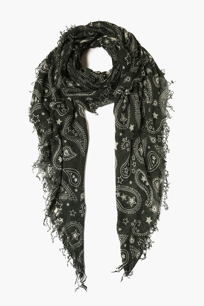 Cashmere & Silk Paisley Scarf in Urban Chic