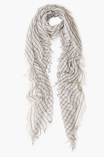 Three Tone Check Scarf with Fringe in Jet Stream