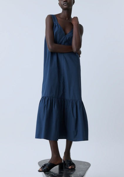 ILKA Organic Poplin Dress in Thunder Sky