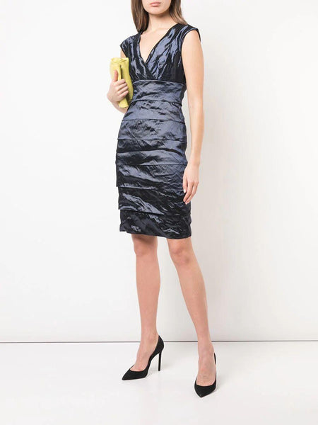 Layered Techno Metal V-Neck Dress in Navy