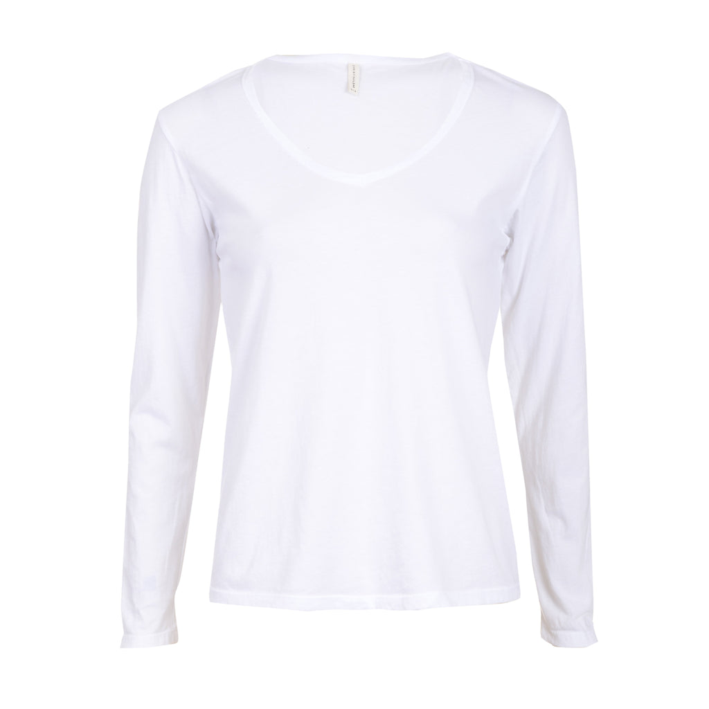 Basic V L/S in White
