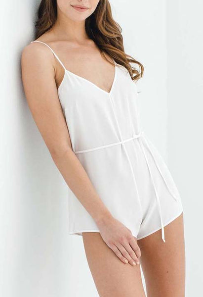 DREAM DAY Silk Romper in Ivory