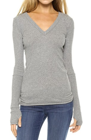 Cotton/Cashmere Cuffed V-Neck in Smoke