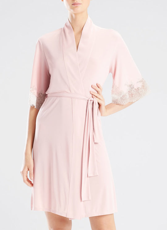 ENCHANT Lace Trim Robe in Bouquet/Cocoon