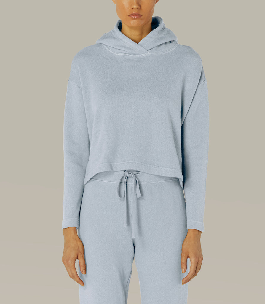 French Terry Cropped Hoodie in Vapor