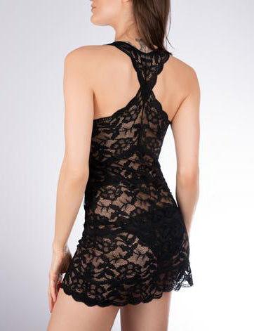 FORTUNA Lace Racerback Chemise in Black