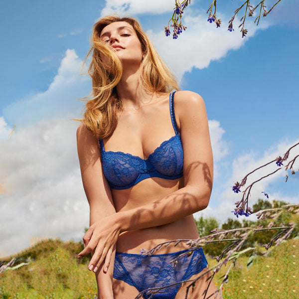 MADELON Lace Balcony Bra in Blue Print