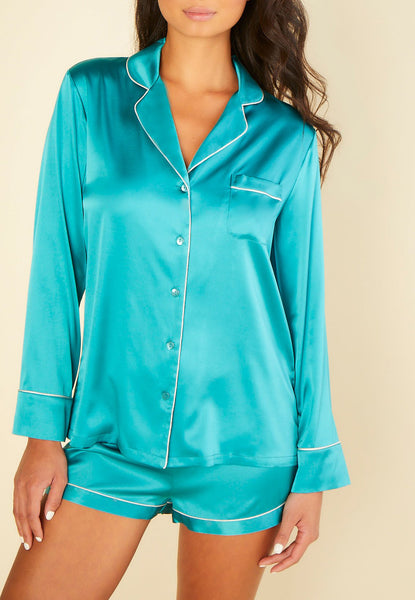 SOPHIA Silk Long Sleeve & Shorts PJ Set in Light Jade