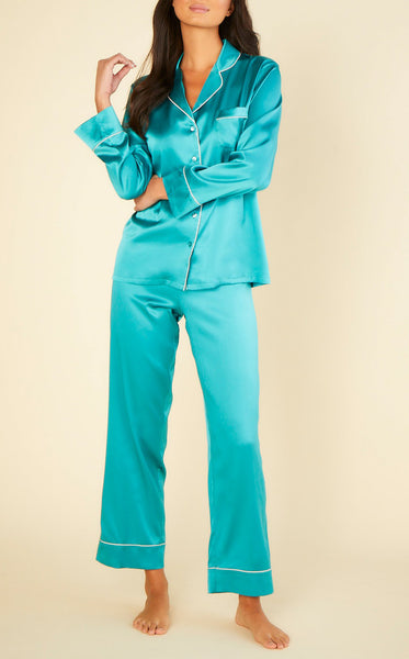 MARLENE Silk Long PJ Set in Light Jade