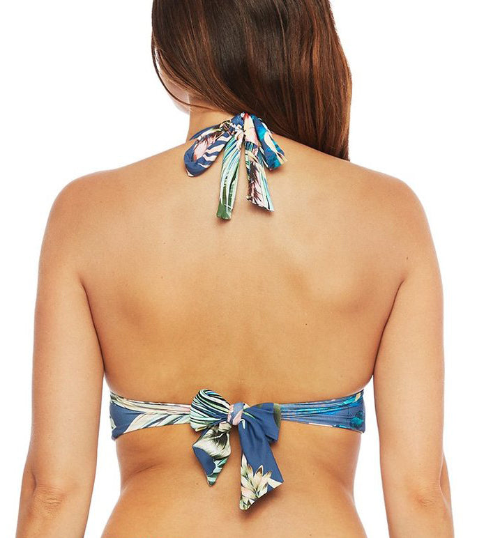 TROPICAL RAIN Halter & High-Waist Bikini in Blue Moon