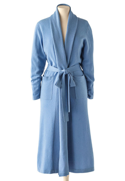 Cashmere Long Duster Robe in Duomo Blue