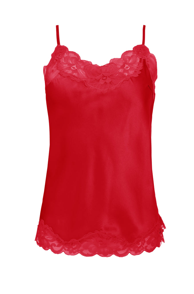 Floral Lace Cami in Fiery Red