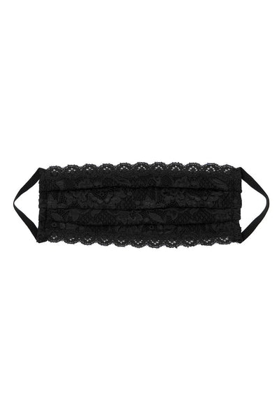 Pleated Lace Face Mask in Black