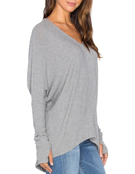 GRACE Oversized V-Neck Sweater in Heather Grey