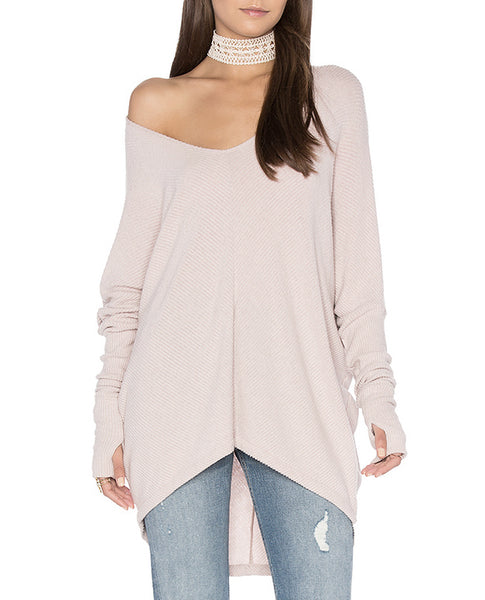 GRACE Oversized V-Neck Sweater in Blush