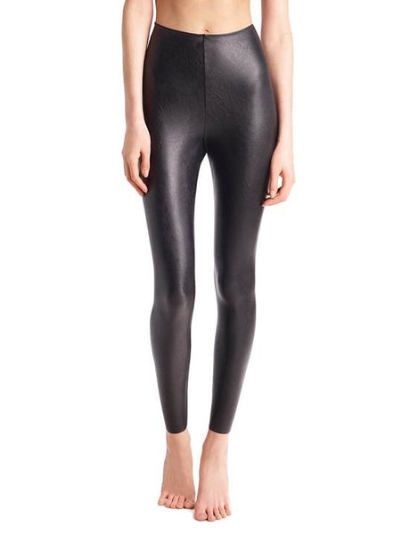 Faux Leather Leggings with Perfect Control in Black