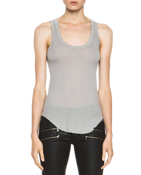 Ribbed Baseball Silk Blend Tank in Ashen