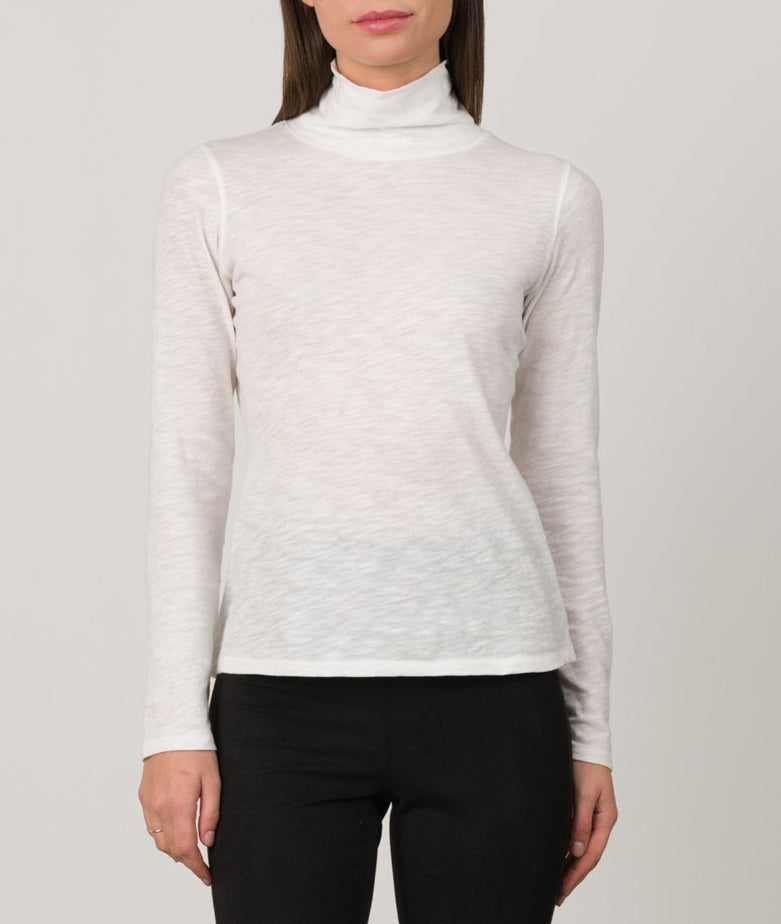 Cotton Slub Turtleneck in White