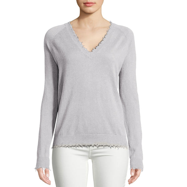 Cotton Frayed Edge V-Neck in Light Heather Grey