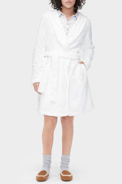 MIRANDA Hooded Fleece Robe in Seagull