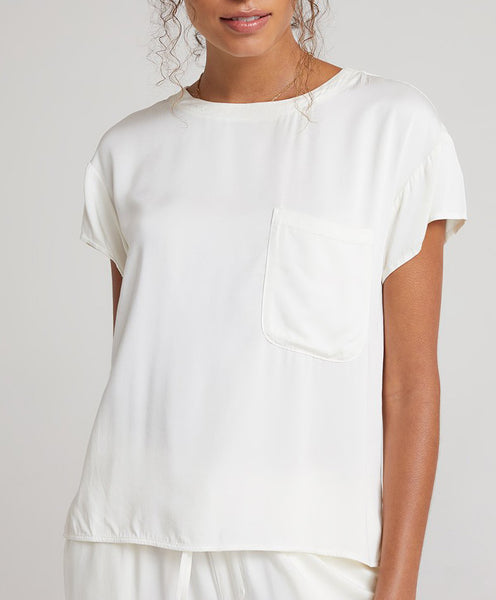 FLOWY Short Sleeve Pocket Tee in Pearl White