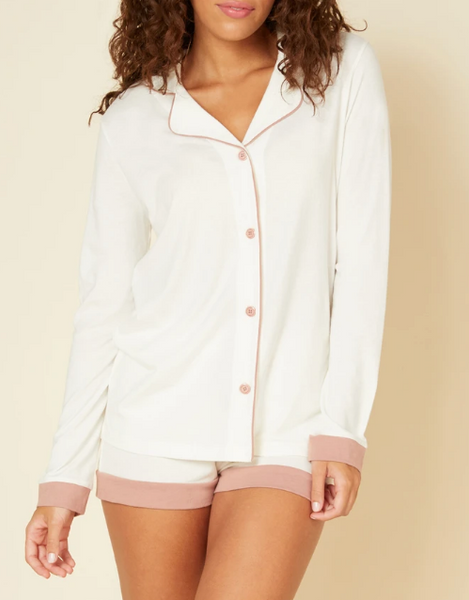 AMORE Bella L/S Top & Boxer PJ Set in Moon Ivory/Mandorla