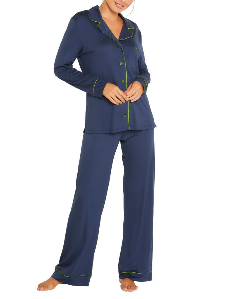 BELLA Long Sleeve & Pant PJ Set in Navy/Evergreen