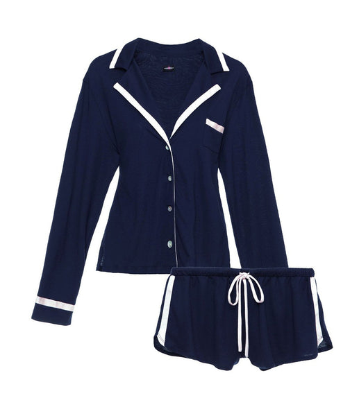 AMORE Bella L/S & Boxer PJ Set in Navy Blue