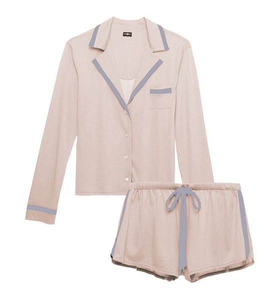 AMORE Bella L/S & Boxer PJ Set in Pink Dust