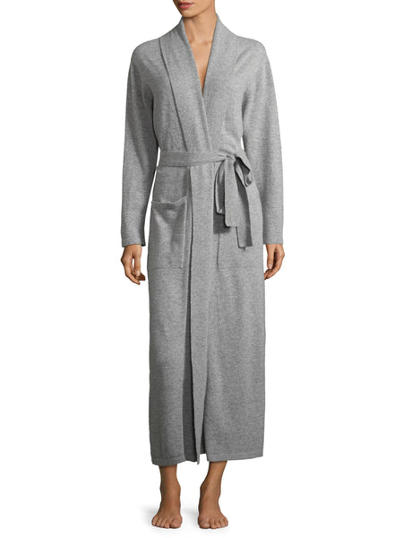 Cashmere Long Duster Robe in Pearl Heather