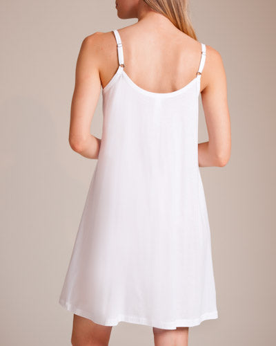 JULIET Pleated Bib Babydoll Chemise in White