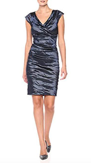 BECKETT Techno Metal Sheath Dress in Navy