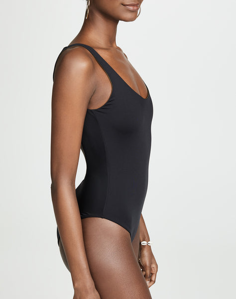 LANA Reversible Maillot in Black/Martini Oil