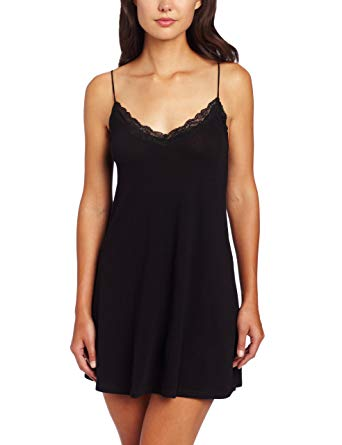 Organic Cotton Lace Trimmed Chemise in Black