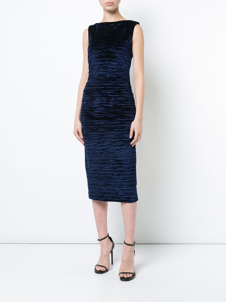 Velvet Textured Midi Dress in Navy
