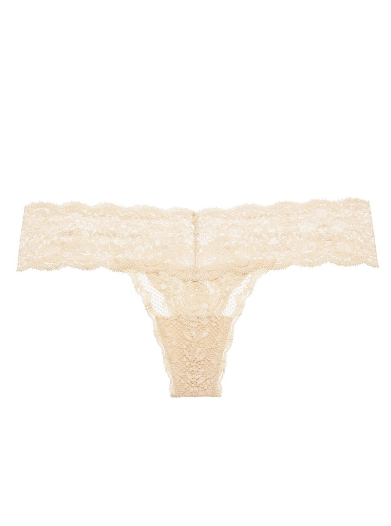 CUTIE Low Rise Lace Thong in Blush