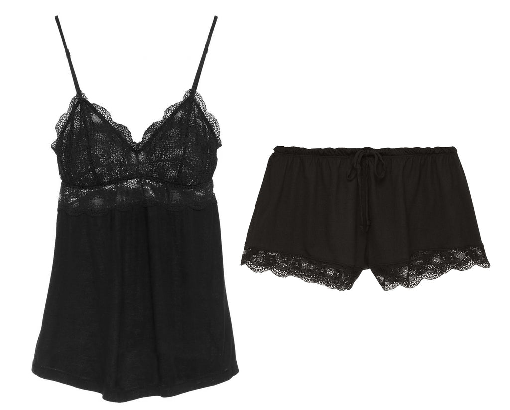 INDIA Retro Cami & Shortie Set in Black