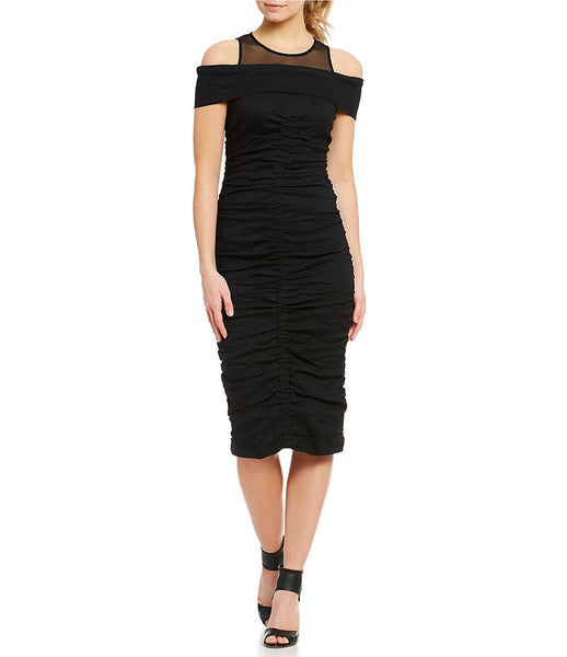 Mesh & Metallic Midi Dress in Black