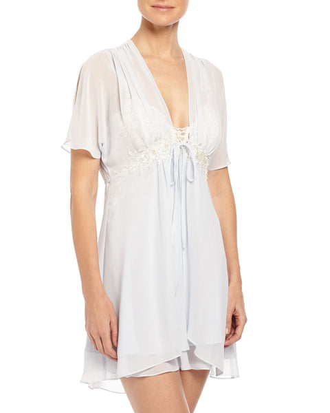 CAROLINE Chiffon Short Robe in Blue Mist