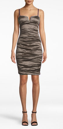 TECHNO METAL V-Bar Mini Dress in Cava